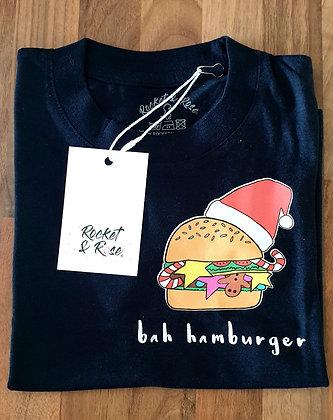 Rocket & Rose 'Bah Humburger' Navy Kids T Shirt