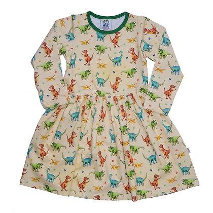 JECO 'Happy Dino' Cream Long Sleeve Dress