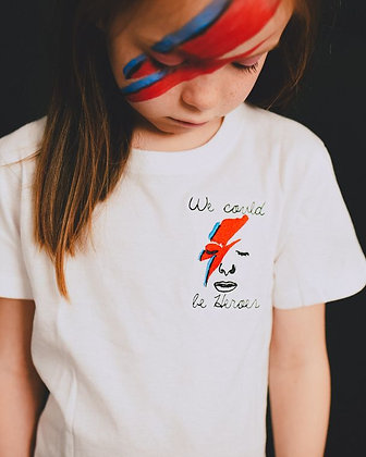 Rocket & Rose 'We Could Be Heroes' White Kids T Shirt