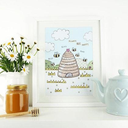 Always Bee Happy A4 Art Print