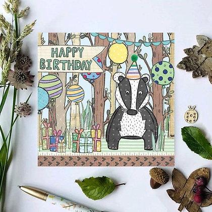 Mr. Badger Birthday Card