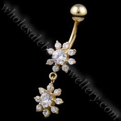 9ct Snowflake Drop Belly Bar (9N31)