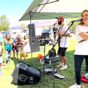 Anthony & Tiffany Salerno lead worship at backpack giveaway event
