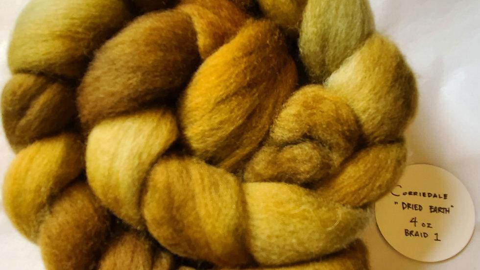 Dried Earth Corriedale Top, Braid 1: 4 oz