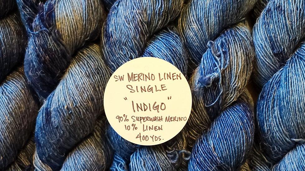 Indigo,  Superwash Merino Linen Single