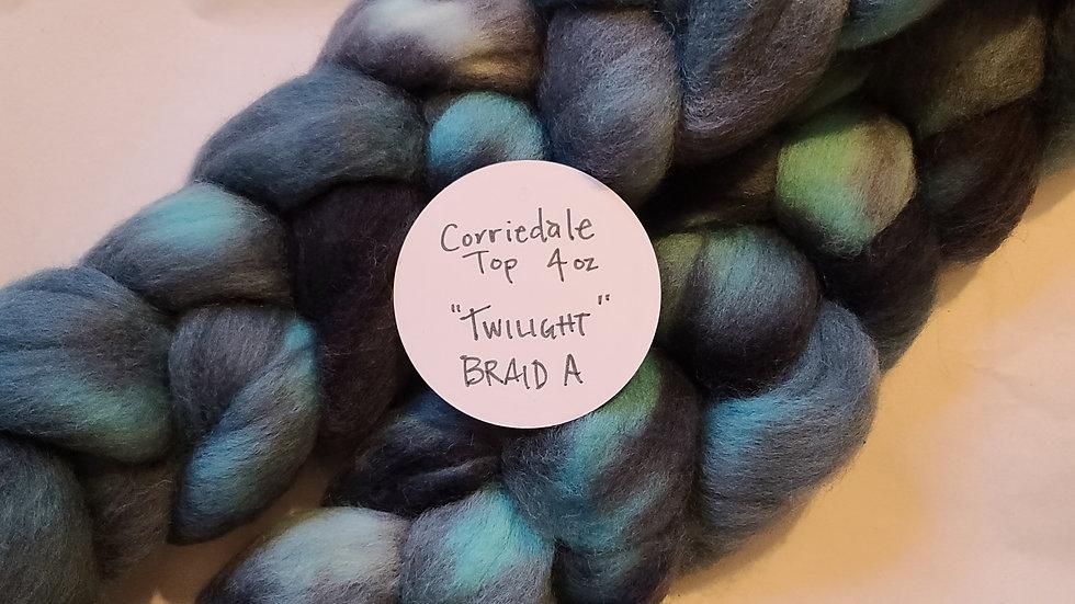 Twilight, Corriedale Top, Braid A,  4 oz