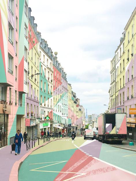 Rue de belleville, digital painting, 2020