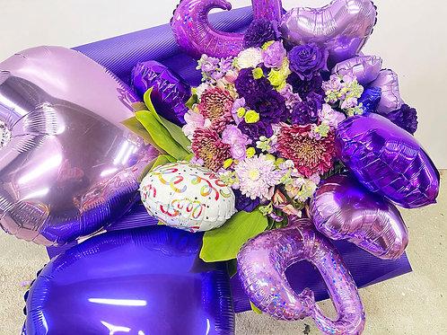 バルーン入り花束(紫)