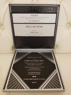 Silver foil and black lizzard invitation