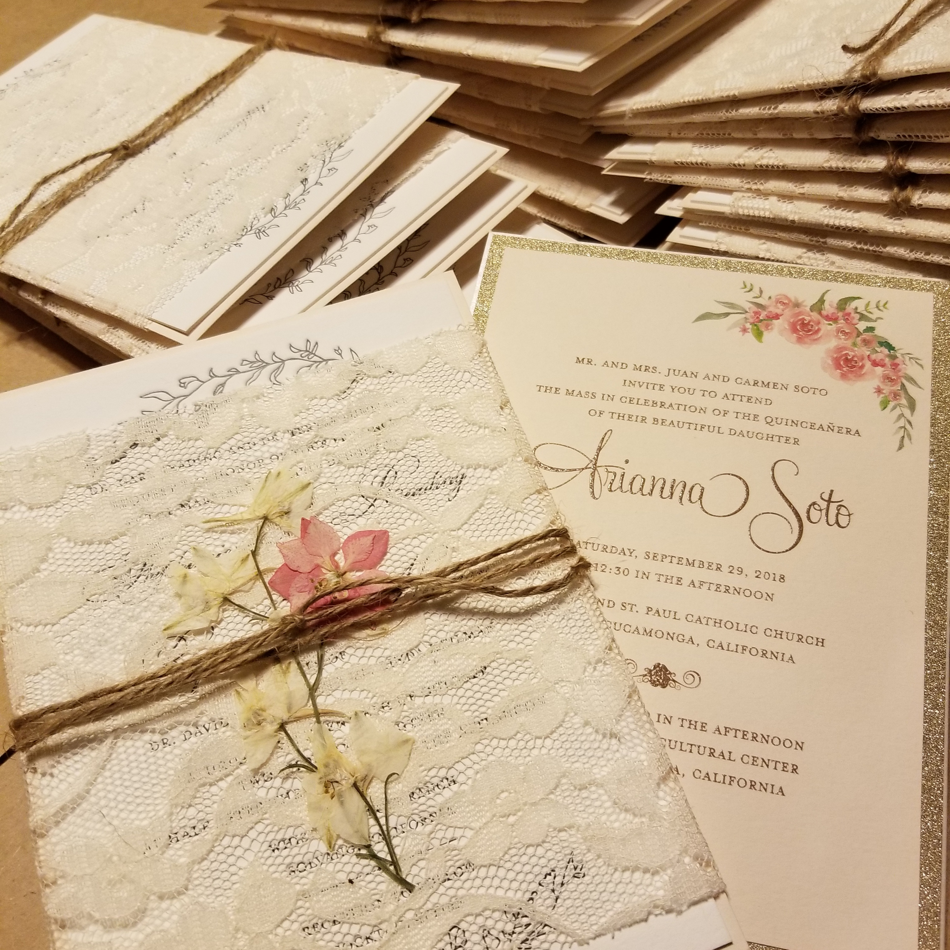 Lace wrapped ivory & blush invitation
