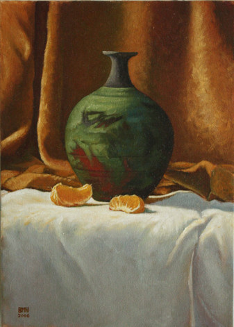Vase and Clementines