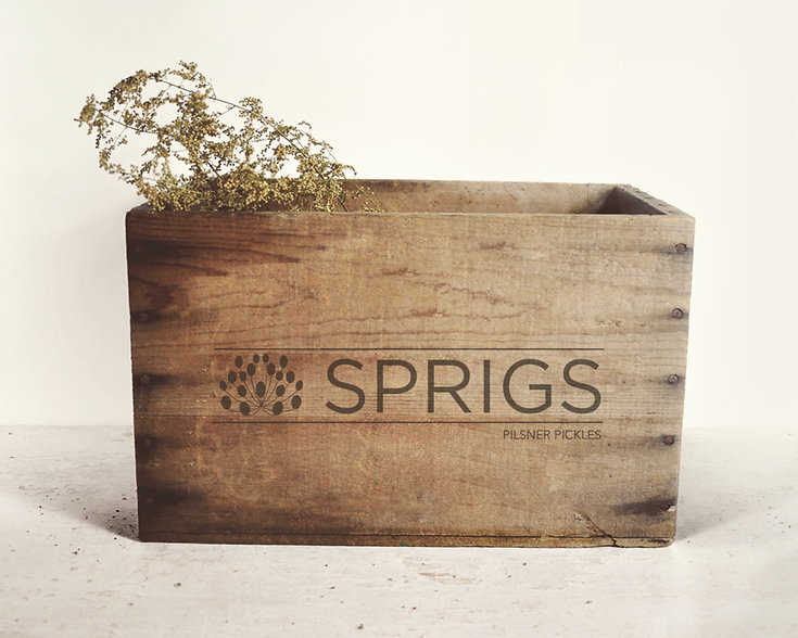 custom logo on a wooden crate