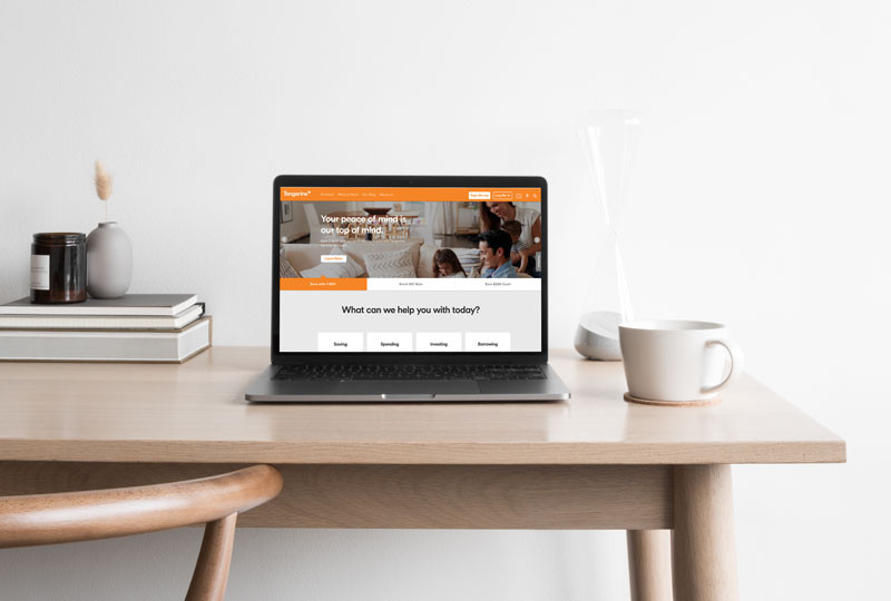 Tangerine bank branding and colours