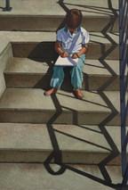 Child Artist on Steps