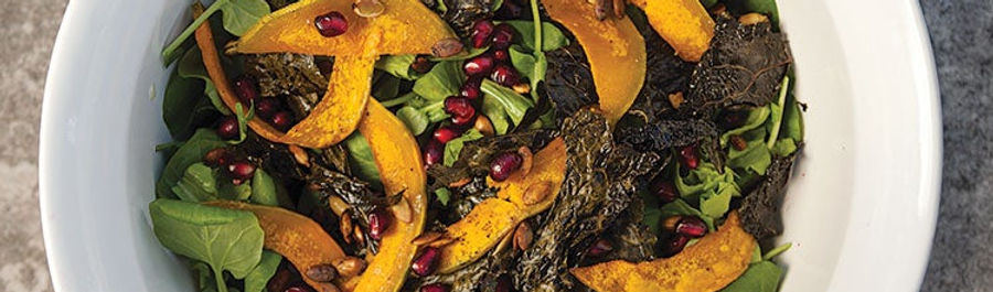 Fall Salad with Roasted Butternut Squash, Kale Chips, and Pomegranate Seeds.jpg