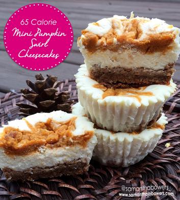 65 Calorie Mini Pumpkin Swirl Cheesecakes