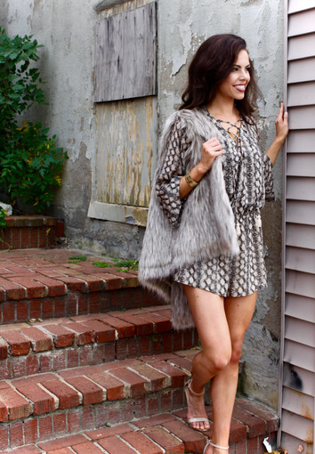 Summer to Fall in Seconds: Lace Up Romper + Faux Fur Vest