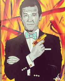 "007 Roger Moore 30""x40"" ($350)"