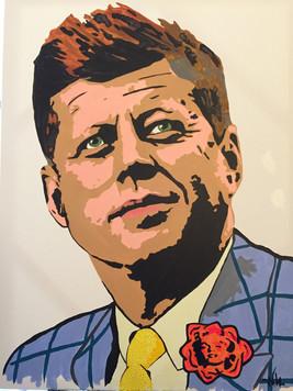 """JFK w/ Marlyn rose 40""""x30"""" ($350)"""
