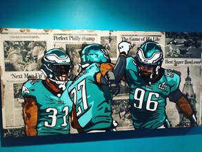 """Eagles Superbowl (on wood) 48""""x24"""" ($750)"""