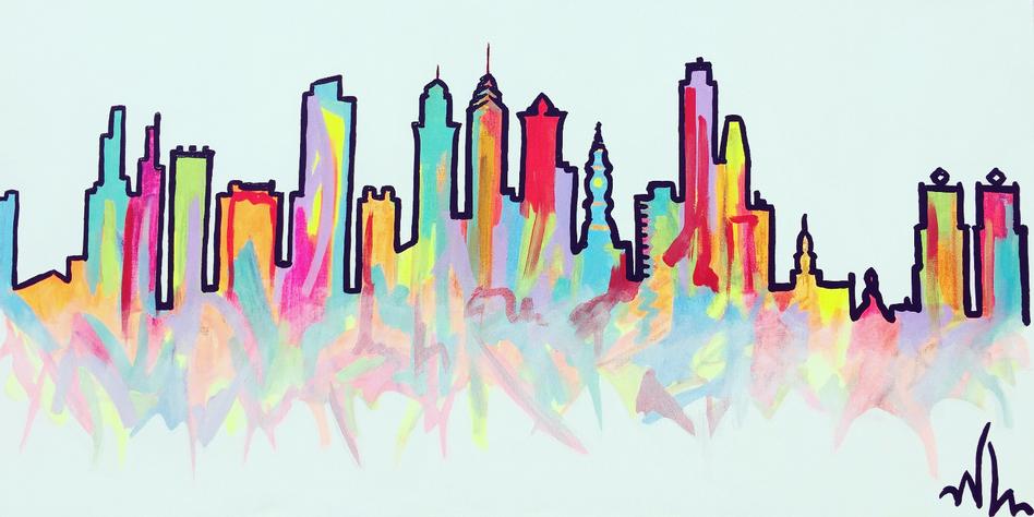 """Philly Skyline 24""""x48"""" ($500)"""
