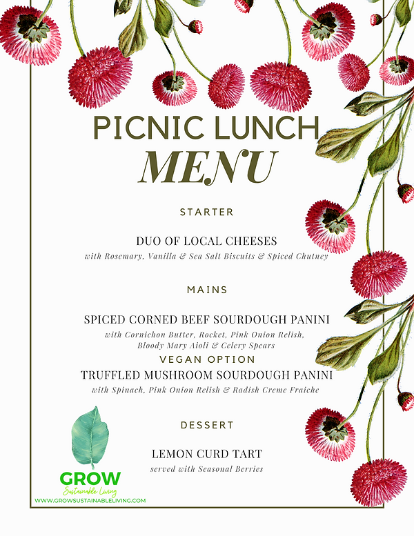 GROW Sustainable Living PICNIC LUNCH MENU Toms Creek Australia