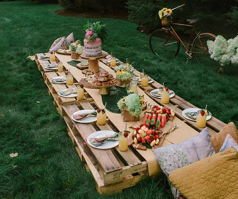 Grazing Table picnics in the garden at GROW Sustainable Living Toms Creek