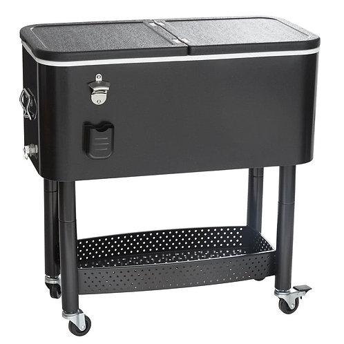"""65 Qt. Black Cooler Cart - 31 1/8"""" x 15 3/8"""" x 32 11/16"""""""