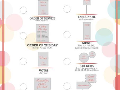 Ceremony decor stationery Checklist
