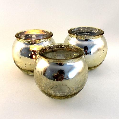 Teelichthalter gold rund