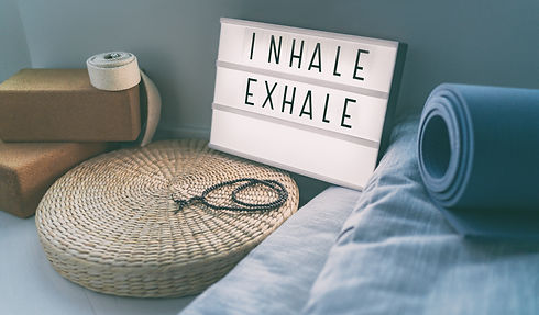 Yoga breathing INHALE EXHALE sign at fit