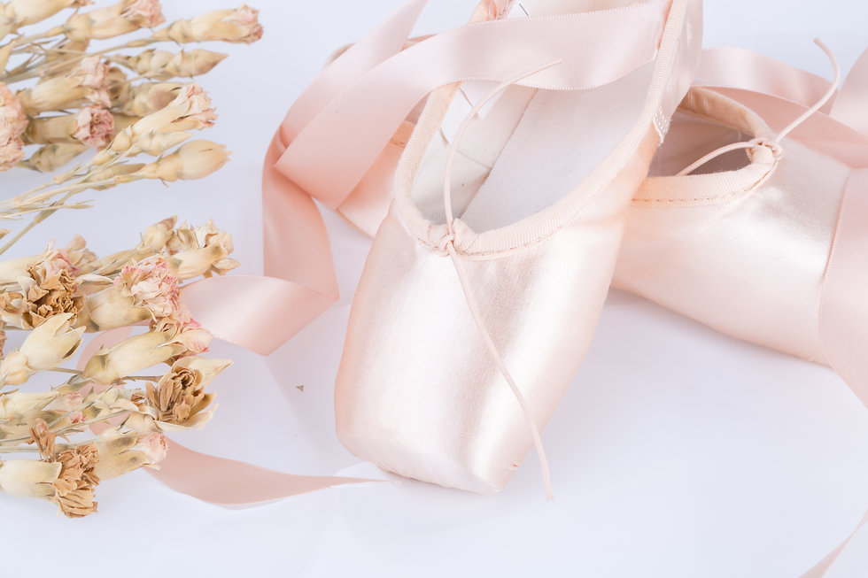 Ballet shoes and flowers, pink ballet shoes.jpg