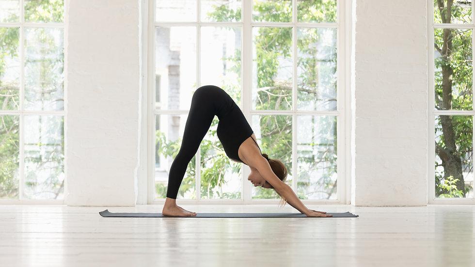 Woman do yoga Downward Facing Dog pose i