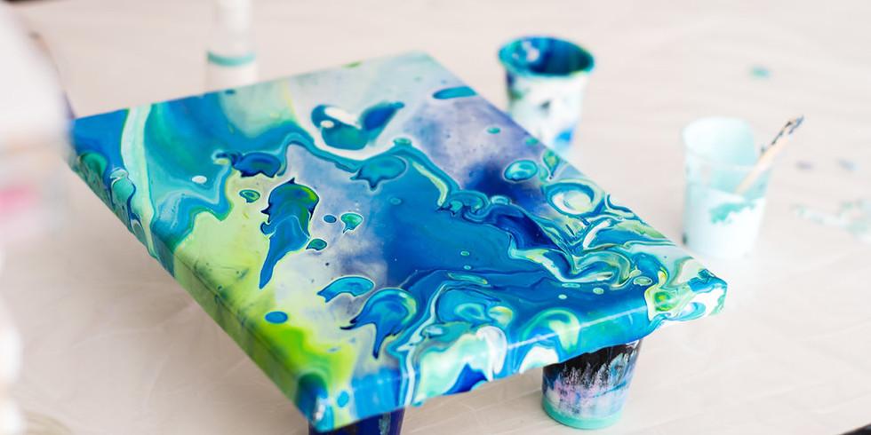 Fluid Acrylic Art, Age 14+, $10 plus materials fee, with Instructor Shannon Regan