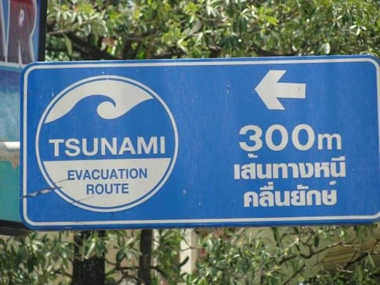 Таблички в Тайланде указывают путь эвакуации в случае цунами