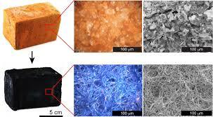 Изменение структуры кирпича после полимеризации проводящего материала PEDOT