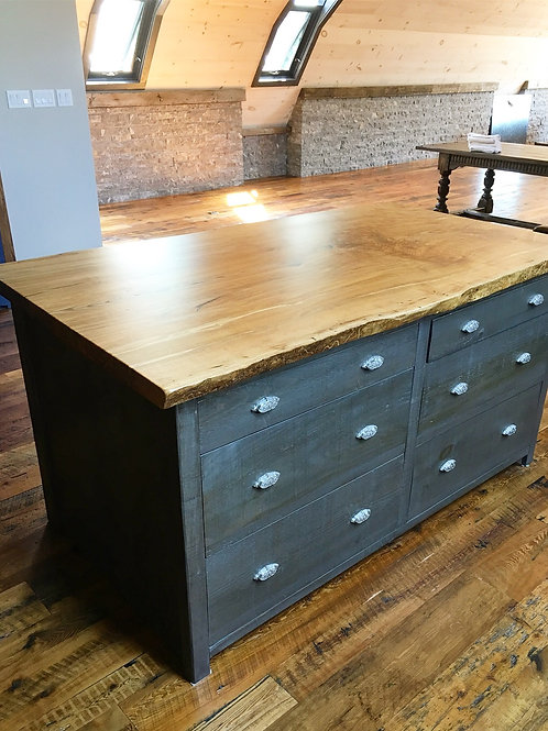 Rescued ash kitchen island counter top