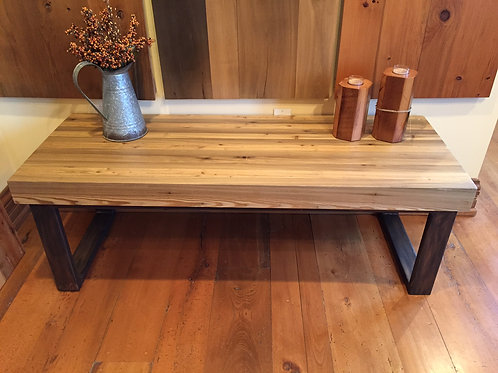 Recovered wharf tamarack bench with brushed metal base