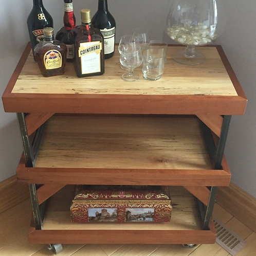 Rescued cherry and spalted maple bar cart