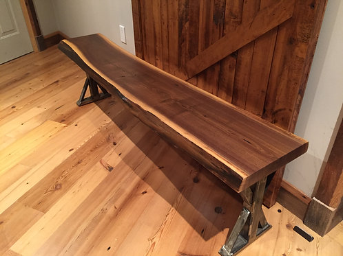 Rescued walnut live edge bench on polished metal frame
