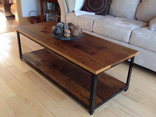 Reclaimed hemlock coffee table with black metal frame