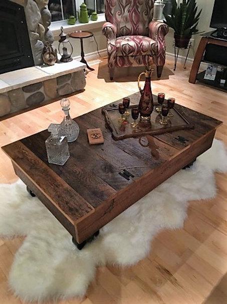 Reclaimed hemlock wheeled coffee table