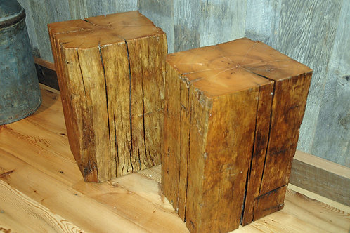 Reclaimed timber cubes in natural, medium and dark stain