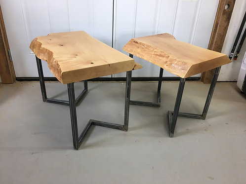 Rescued maple side tables on brushed metal frame