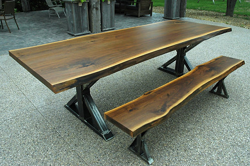 Rescued walnut dining table and bench