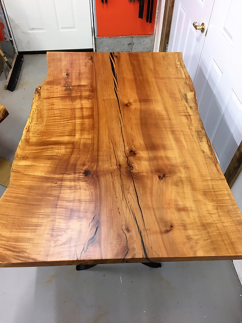 Rescued maple kitchen table on black metal frame