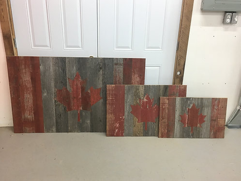 Reclaimed grey and red board Canada flags