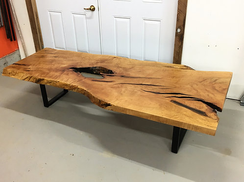 Rescued maple coffee table on black metal frame