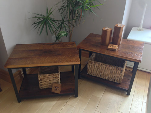 Reclaimed hemlock end tables on black metal frames