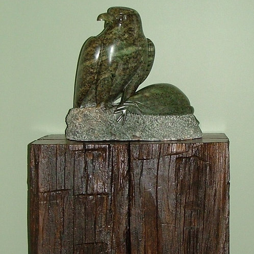 Reclaimed elm timber cube statue stand